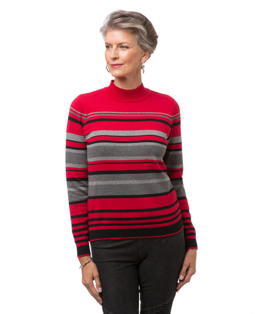 Women's red striped mock neck sweater