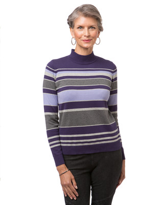 Women's purple striped mock neck sweater