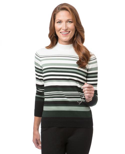 Women's green striped mock neck sweater