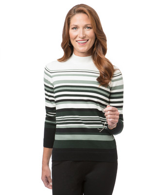 Women's green striped mock neck sweater