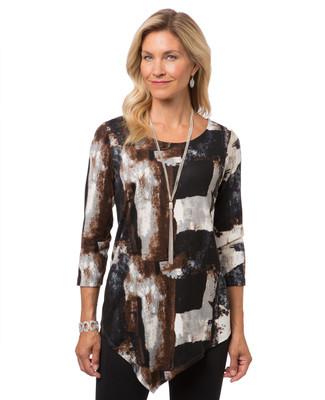 Women's angled hem tunic top