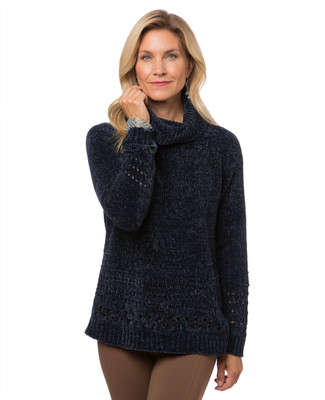 Women's Point Zero navy chenille cowl neck sweater