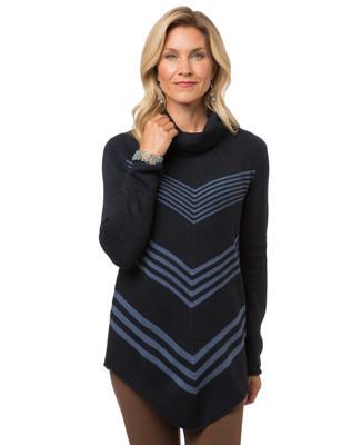 Women's Point Zero navy herringbone sweater