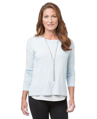 Women's Point Zero grey sweater with faux cami underpiece