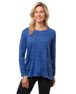Women's blue knit sweater with pockets