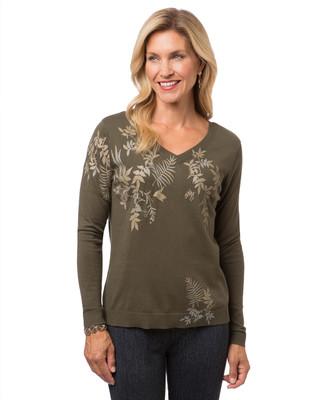 Women's green leaf print sweater