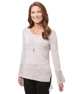 Women's pink flared sleeve crew neck sweater