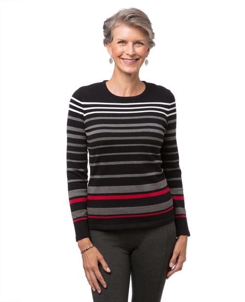 Women's black striped crew neck sweater