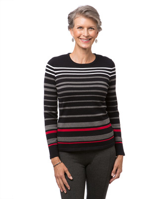 Women's black striped crew neck sweater
