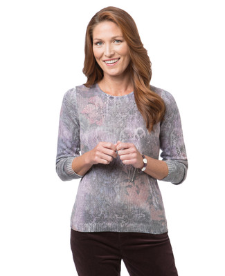 Women's long sleeve print sweater