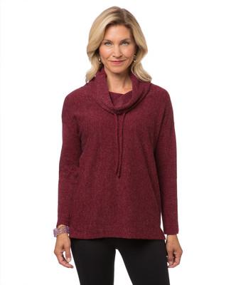 Women's burgundy cowl neck top