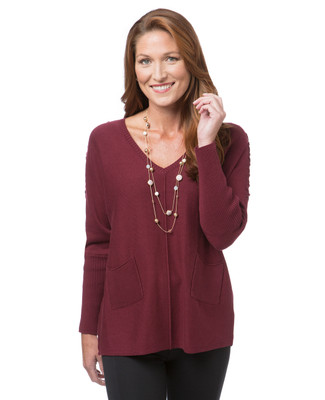 Women's burgundy V-neck sweater with lace up detail