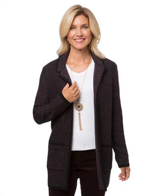 Women's black knit cardigan coat