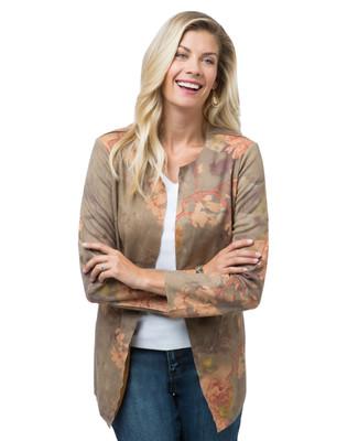 Women's orange floral print faux suede jacket