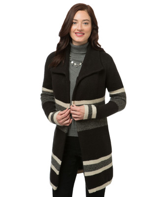 Women's colour block long sweater coat