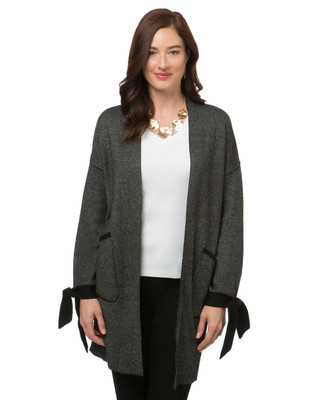 Women's black long cardigan