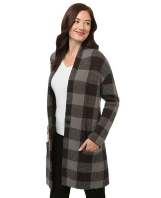 Women's checkered long sweater coat