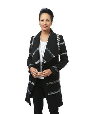 Women's grey draped wool blend coat