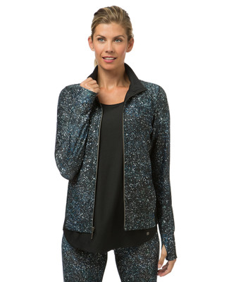 Women's blue printed activewear jacket