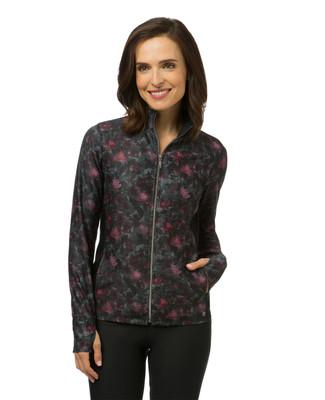 Women's purple printed workout jacket