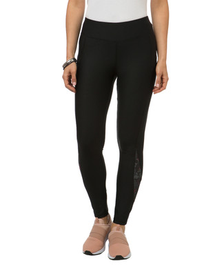 Women's black workout leggings with printed panel