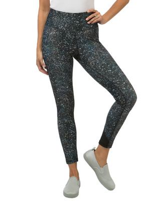 Women's blue printed workout leggings