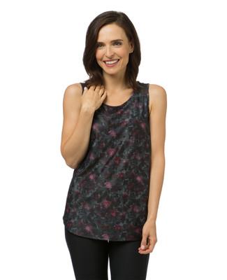 Women's purple printed mesh activewear tank top