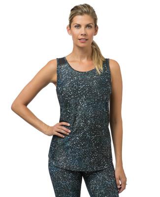 Women's blue printed mesh workout tank top