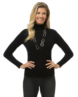 Women's ribbed turtleneck sweater