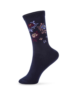 Women's navy floral socks