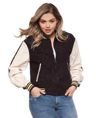 Women's plus size lace bomber jacket