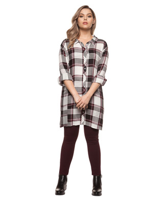 Women's plus size checkered yard dye tunic shirt