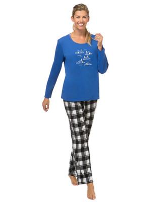 Women's penguin plaid pyjama set