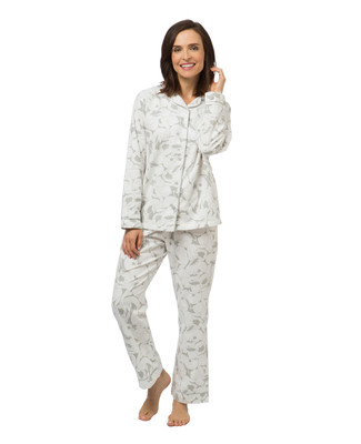 Women's bunny print flannel pyjama set
