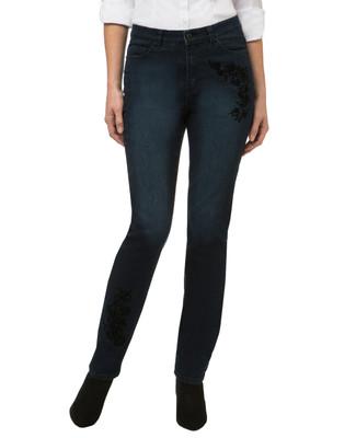 Women's dark wash embellished jeans