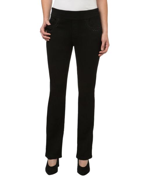 Women's embellished black comfort jeans