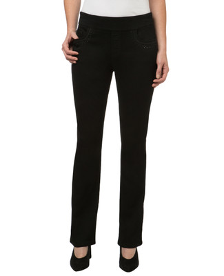 Women's embellished black comfort jeans
