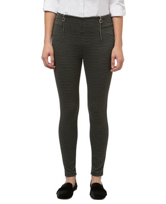 Women's charcoal houndstooth leggings