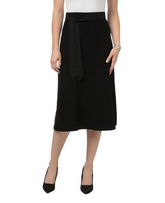 Women's classic self-tie knit black knee length skirt.