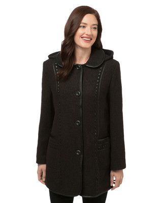 Women's leather trim detachable hooded jacket