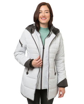 Women's white quilted winter jacket