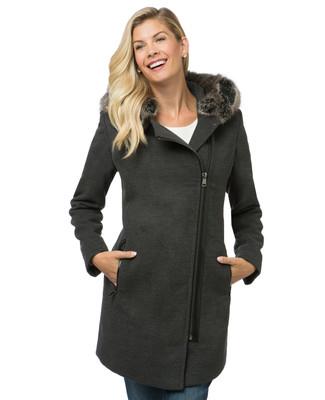 Women's long grey cloth coat