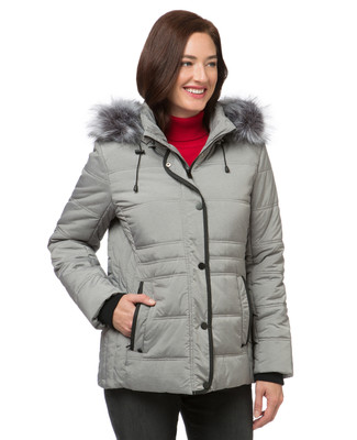 Women's silver quilted winter jacket