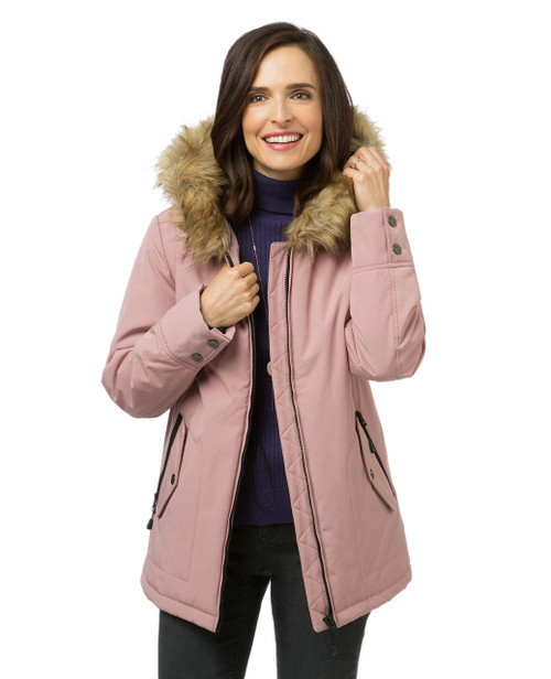 Women's pink quilted winter jacket