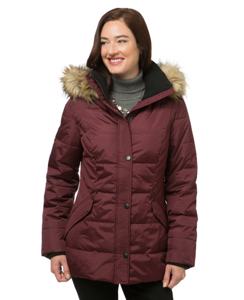 Women's red quilted winter jacket
