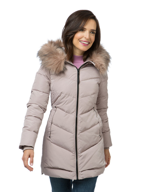 Women's nude coloured quilted winter jacket
