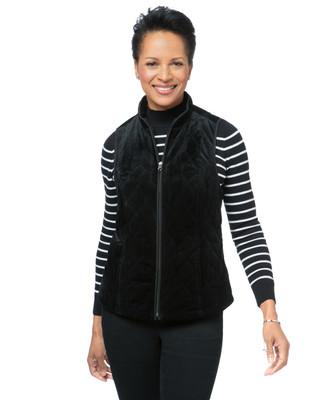 Women's black quilted vest
