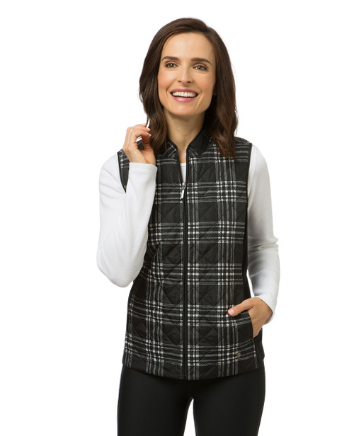 Women's quilted plaid vest
