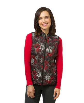 Women's quilted floral print vest