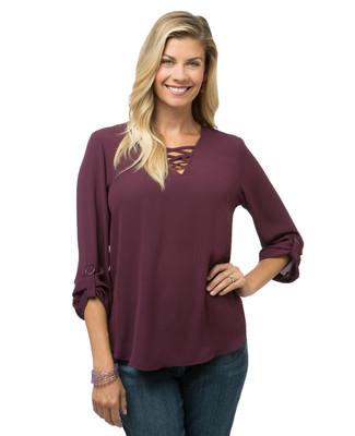 Women's three quarter sleeve V-neck blouse